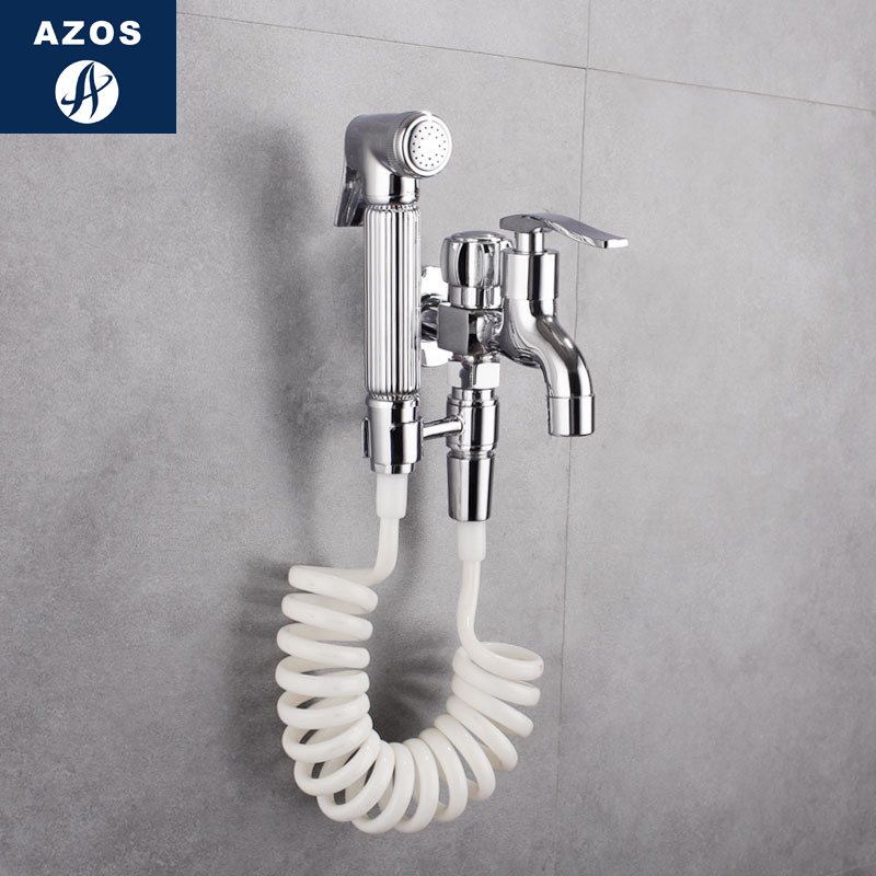 Azos Bidet Faucet Pressurized Sprinkler Head Brass Chrome Cold Water Two Function Toilet Wash Washing Machine Round PJPQ016