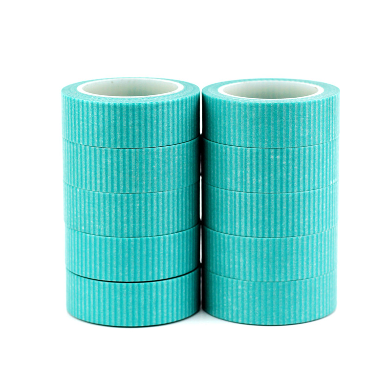 10PCS/lot Decorative Cute Mint Blue Lines Washi Tapes Paper For Scrapbooking Bullet Journal Adhesive Masking Tapes Stationery