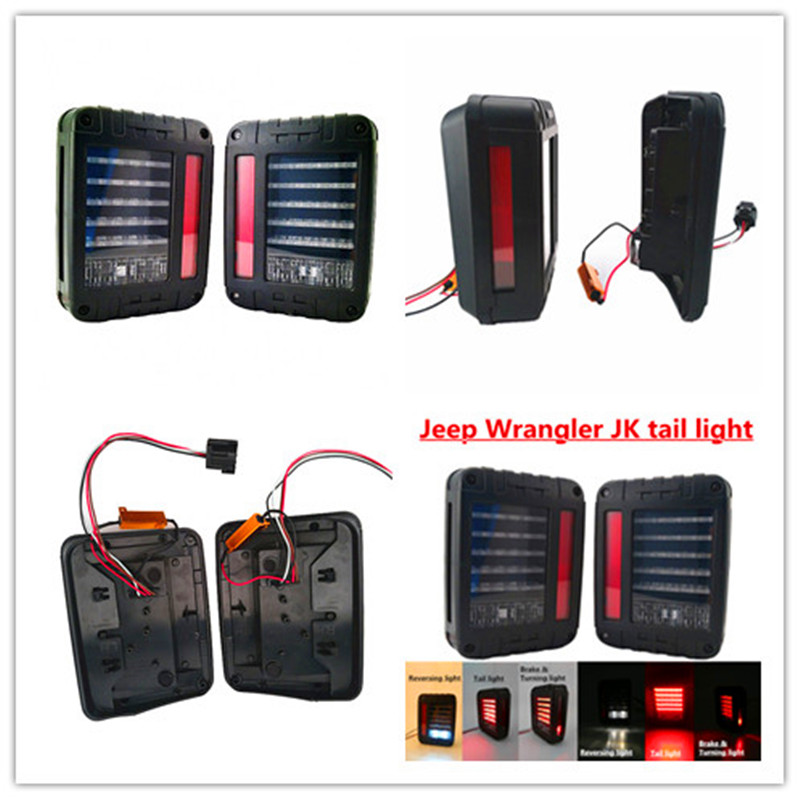 LED Tail Lights for 2007-2015 Wrangler Tail Light Brake Reverse Light Rear Back Up Turn Singal Lamp Daytime Running Lights DRL for vw volkswagen polo mk5 6r hatchback 2010 2015 car rear lights covers led drl turn signals brake reverse tail decoration