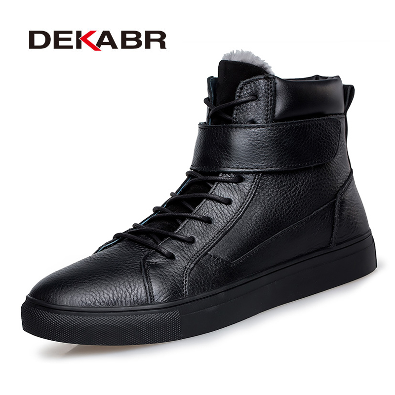 DEKABR Brand Men Winter Plush Warm Genuine Leather Snow Boots Men Hook Loop Ankle Sneakers Autumn Black Shoes Plus Size 36~48