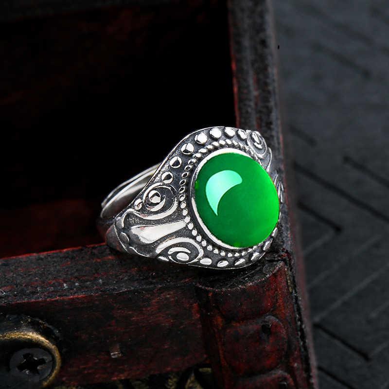 10*8 มม.ไม่ปลอม S925 เงินสเตอร์ลิง Asia แหวนมรกตหยก moldevite Chinatown oriental Retro Chalcedony