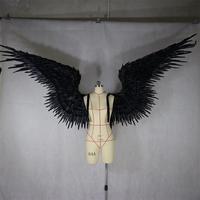 Черные крылья из перьев Дьявол Ангел Хэллоуин крылья подиум модель Большой Косплей праздничные вечерние мужские Крылья вечерние реквизит