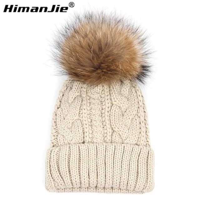 Free shipping Dual Removable Fur Pom Striped thick knit wool cap winter hats women beanie knitted Warm caps feminino beanie cap