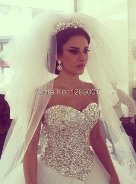 Diamond Ball Gown Tulle Wedding Dress