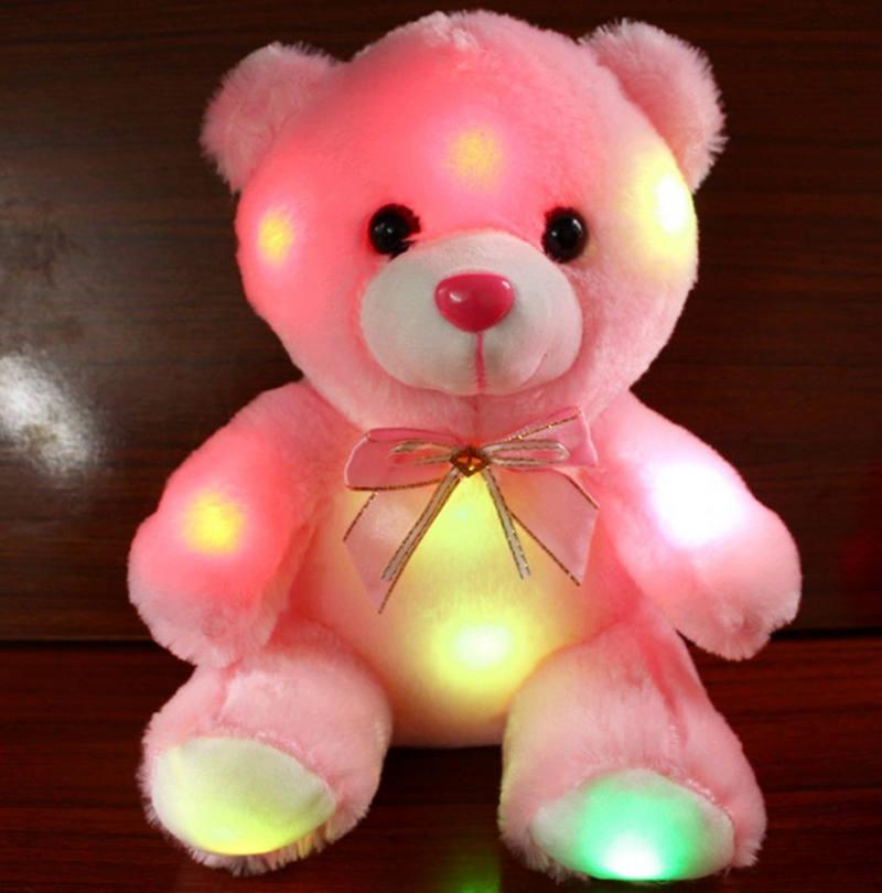 Stuffed Animals Bear LED Flash Light Plush Luminous Cute Bear Panda Doll Plush Toy Kid Gift