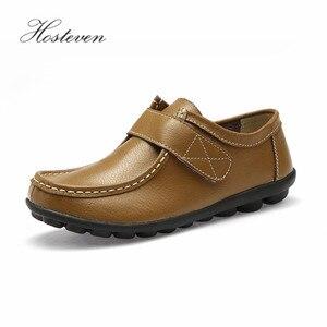 Image 2 - Hosteven femmes chaussures Sneakers appartements en cuir véritable mocassins décontractés chaussure à talons bas mocassins chaussures solide grande taille