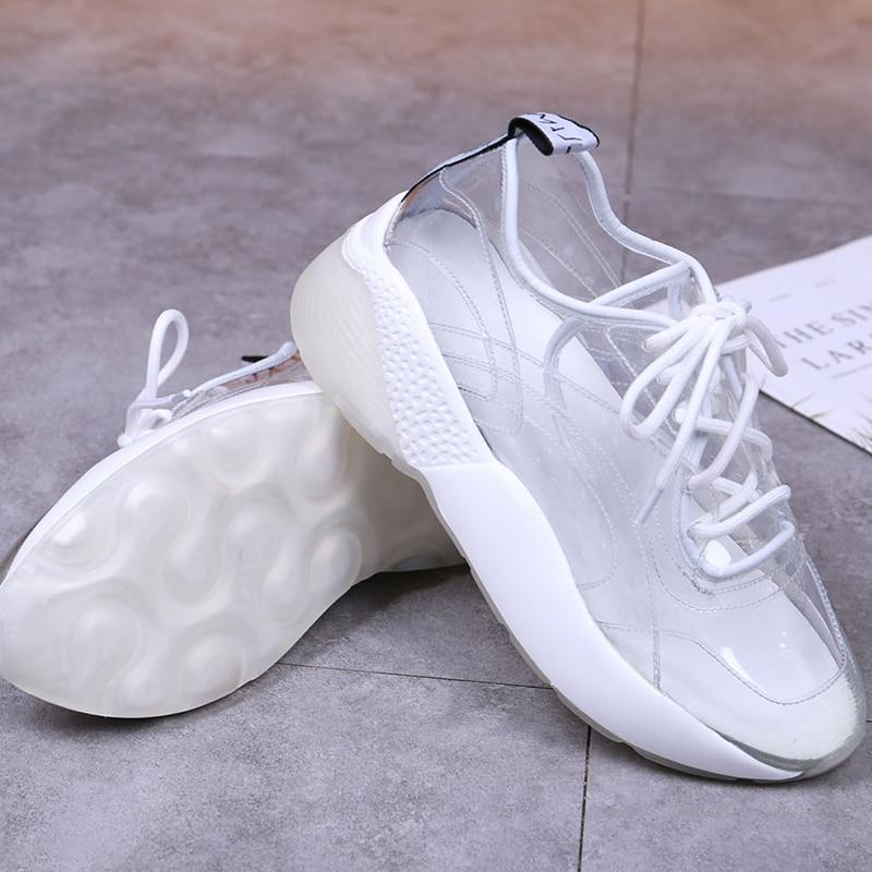Punta Redonda Plantilla De Mujer Nueva Zapatos Plana Fondo Poliuretano Oveja Gruesa Transparente Zapatillas Plástico Piel Deporte Clear Luchfive 2019 Atado YwaxqS0S