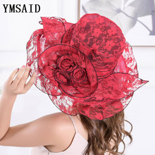 Ymsaid Summer Women Lace Church Hat With Flower Foldable Wide Brim Cap Wedding Party Hats Beach Sun Protection Caps