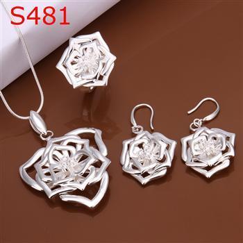 S0481 Atacado, frete grátis hot 925 set jóias de prata, jóia da forma definida Three-Piece Set Jóias