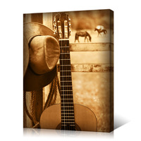 HD Printed Guitar And Cowboy Hat Canvas Wall Art Western Farm Scene Country Style Posters Retro Art Print for Home Decoration