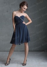Free Shipping Western Style A Line Sweetheart Pleated Knee Length Chiffon Country Bridesmaid Dresses With Beadings BD055