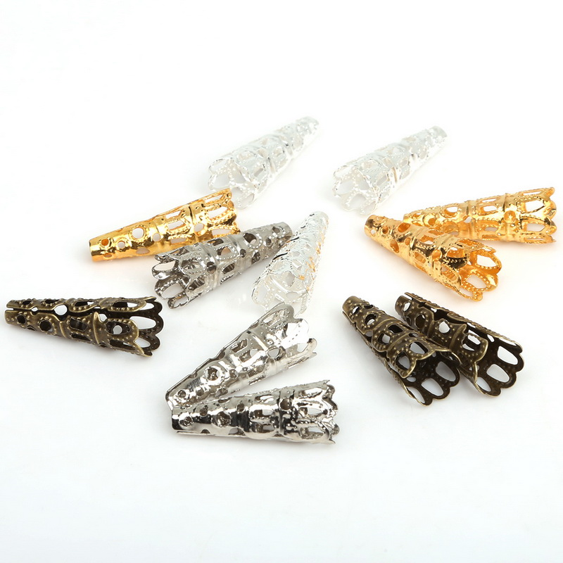 (100 шт./лот) Палочки 4 цвета Стеклярус филигранная головка конический колпачок 8×22 мм ювелирных изделий, бесплатная доставка