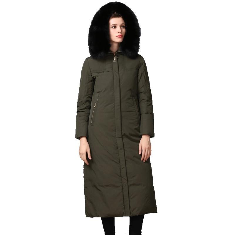 European Autumn Winter Women Parkas   Down     Coats   With Fox Fur Hoody 90% Duck   Down   Lady X-Long Outerwear Overcoat LF4313