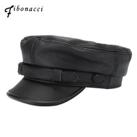 Fibonacci 2018 New High Quality Cowhide Leather Female Military Cap Fashion Men Women Flat Genuine Leather Hats