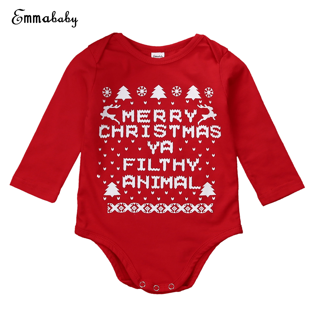 c7577be6051 Newborn Baby Boys Girls Christmas Rompers Long Sleeve Letter Jumpsuit Green  Red Outfits Kids Boy Girl Xmas Romper 0 18M-in Rompers from Mother   Kids  on ...