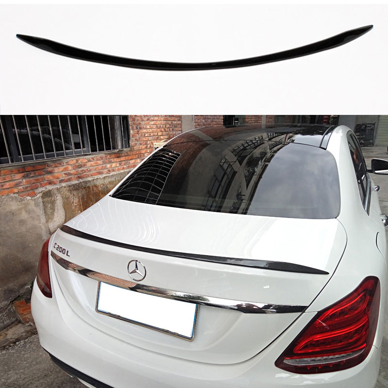 For Mercedes benz C class W205 C63 style carbon fiber rear spoiler wing 2015 c180 c200 c220 c250 c300 4door carbon fiber emblem car stickers b column door bumper sticker for mercedes benz c class w205 c180 c200 c300 glc car styling