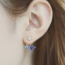 1 Pair New Arrival Fashion Vintage Crystal Black White Birds Stud Earrings For Women Party Christmas Gift Animal Earrings(China)