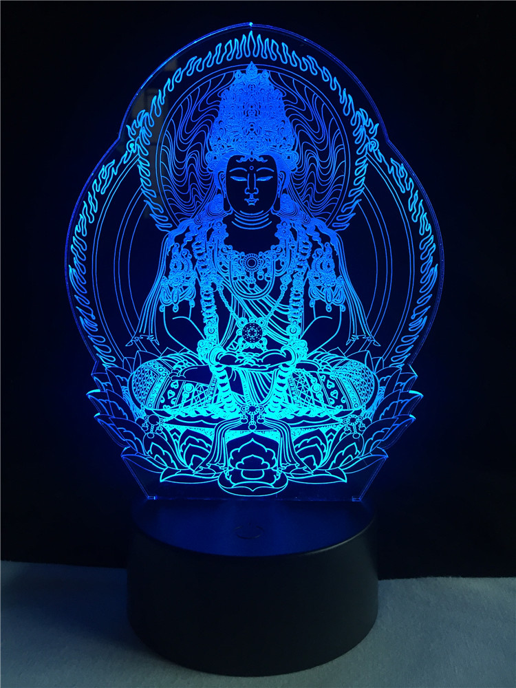 Creative Religion Buddha Statue 3D lighting Cable Faith Friend Gifts LED USB Mood Night Light Multicolor Decorative Table Lamp