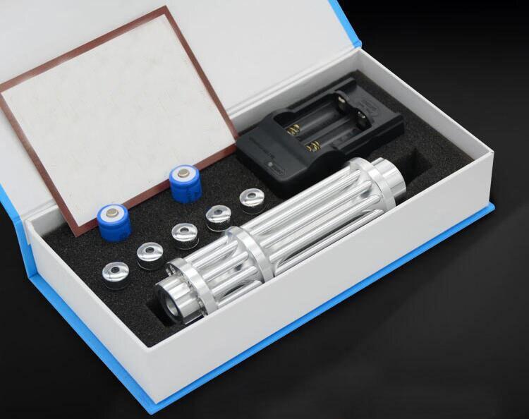 Ad alta Potenza Puntatori Laser Blu 100000 m 450nm LAZER torcia elettrica Masterizzazione Partita/Carta/Legno Secco/candela/ nero/sigarette + charger + box