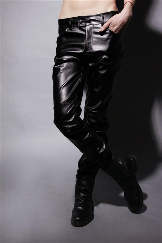 2017 осень Мужской моды город случайных брюки упругие <font><b>lederhosen</b></font> мужские мотоцикл искусственной кожи узкие брюки обтягивающие черные