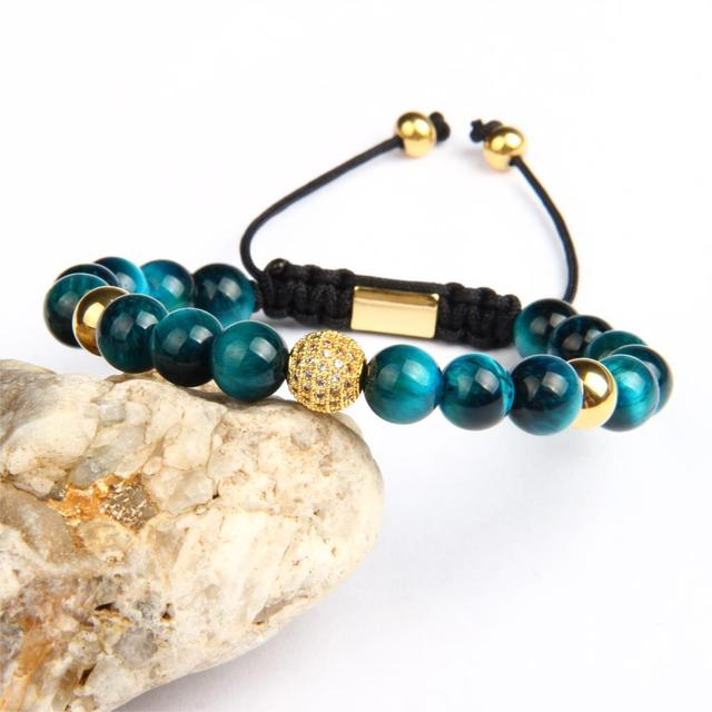 Beaded Bracelet with Natural Blue & Rose Tiger Eye  4