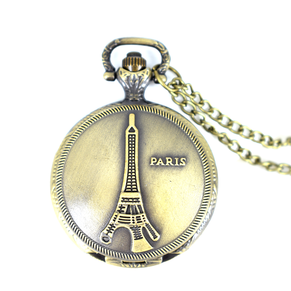 Vintage bronze Eiffel Tower quartz pocket watch Steampunk Pocket Watch Women Man Necklace Pendant with Chain Christmas Gifts old antique bronze doctor who theme quartz pendant pocket watch with chain necklace free shipping
