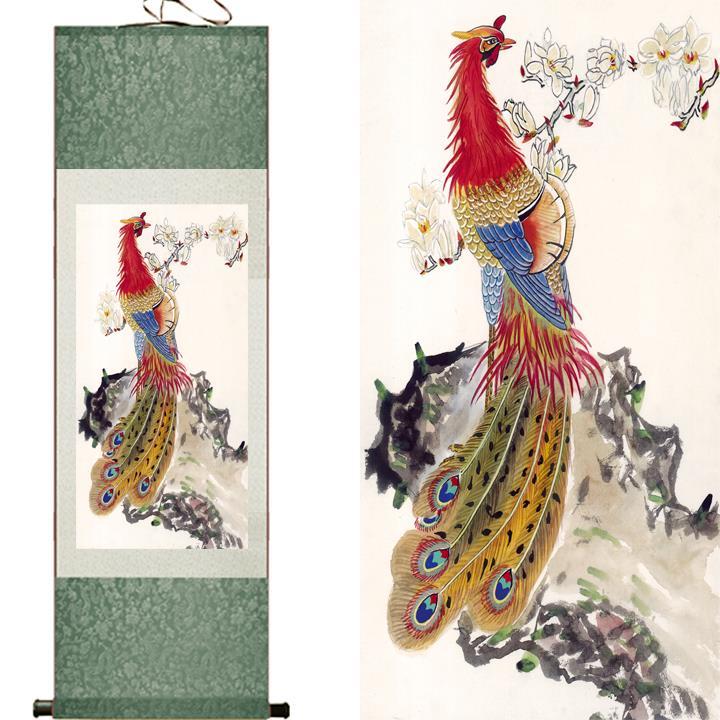 tradiční čínská malba svitek malování domácí kancelář dekorace umělecká malbaTlačený obraz