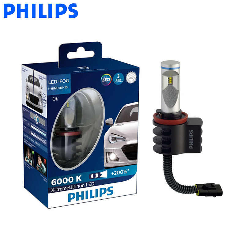 Philips LED H8 H11 H16 X-treme Ultinon LED Fog Light Auto Lamps 6000K Cool White +200% Brighter AirFlux 12834UNI X2, Pair