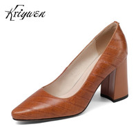 Kriywen Woman Spring Shoes 2018 New Arrival Women Genuine Leather Pumps Concise Shallow Green Sapato Feminino