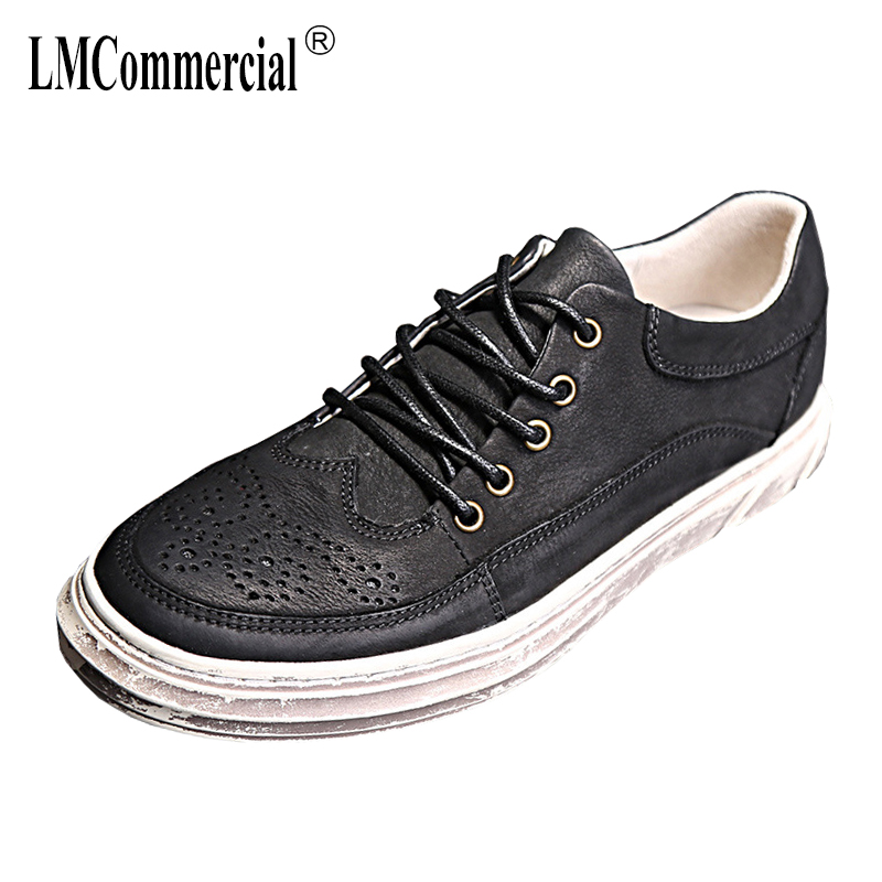 New men's Genuine Leather shoes fashion all-match cowhide casual shoes breathable sneaker fashion boots men casual shoes male m genreal 2017 new women white shoes all match summer breathable leather shoes vulcanized casual shoes candy color lace 35 39