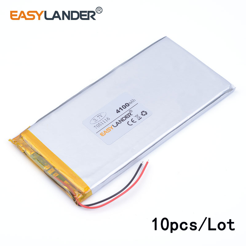 10pcs/Lot <font><b>3.7V</b></font> <font><b>4100mAh</b></font> 7051116 lithium Li ion polymer rechargeable <font><b>battery</b></font> For GPS DVD tablet pc laptop power bank phone image