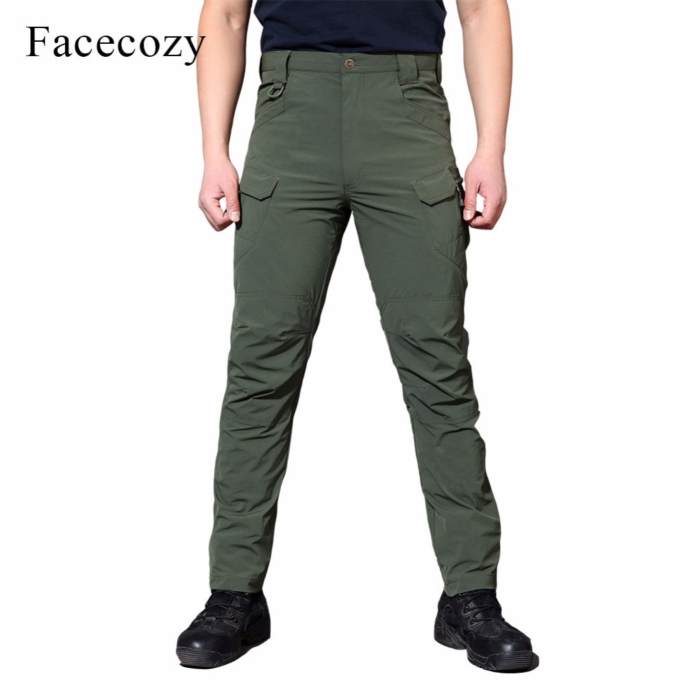 Facecozy Men Summer Elastic Tactical Trousers Quick Dry Comfy Thin Camping Hiking Outdoor Sports Pants Multi-Pocket Pencil Pants