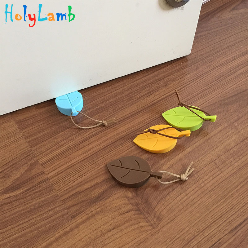 2017 Leaves Shape Baby Safety Cute Door Stopper Baby Newborn Care Child Lock Protection From Children Child Lock cute animal baby safety card door protection baby newborn care lock protection from children castle child lock fridge keychains