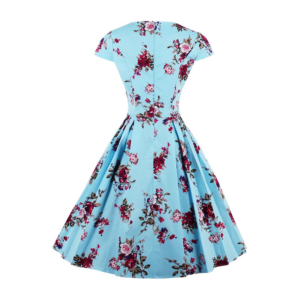 Retro Vintage Floral Print A-Line Dress 5