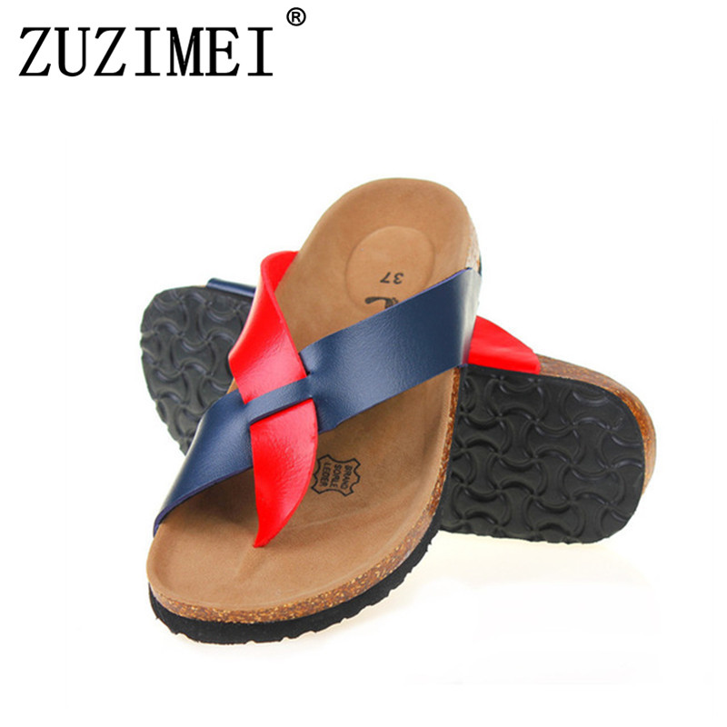 2018 New Women Slipper Summer Beach Cork Flip Flops Sandals Mixed Color Casual Slides Holiday Shoes Flat Plus Size 35-43 fashion women slippers flip flops summer beach cork shoes slides girls flats sandals casual shoes mixed colors plus size 35 43