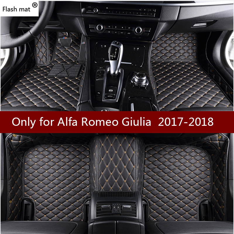 Flash mat leather car floor mats for Alfa Romeo Giulia 2017 2018 Custom foot Pads automobile carpet car coversFlash mat leather car floor mats for Alfa Romeo Giulia 2017 2018 Custom foot Pads automobile carpet car covers