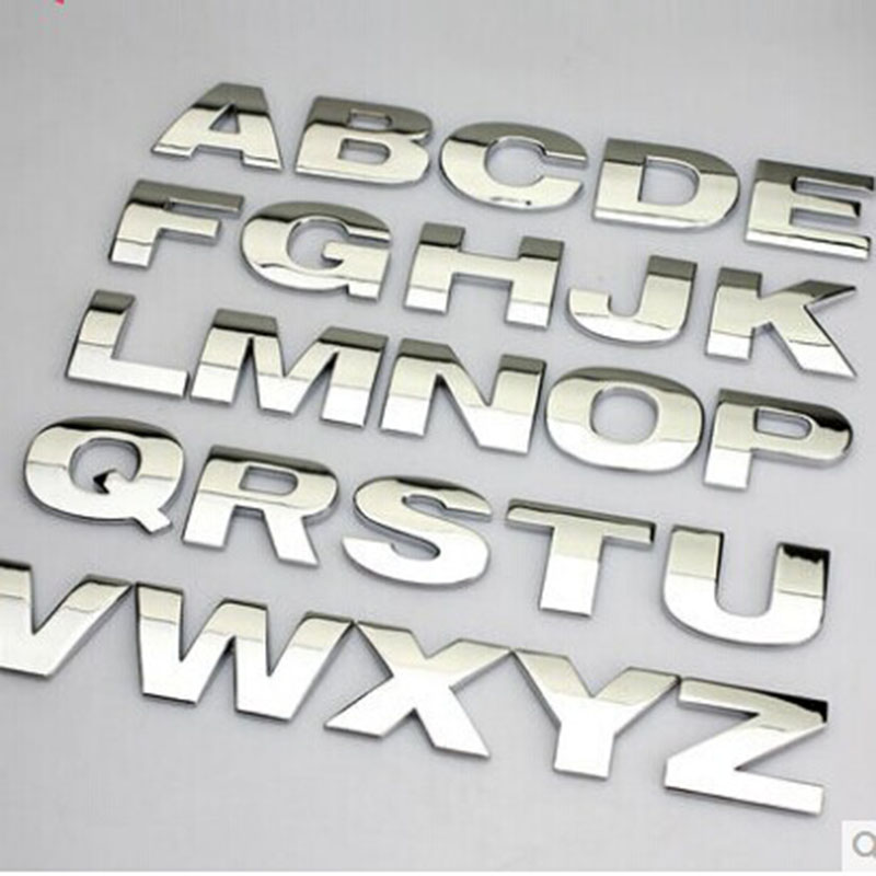 1pcs Car Stickers Silver Black Car Styling Metal Stickercar Styling 3D Metal Letters Emblem Digital Figure Number Chrome DIY