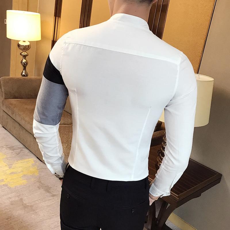 zomer mode klassieke stijl patchwork shirt met lange mouwen heren - Herenkleding - Foto 2
