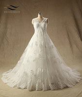 New Arrived Sleeveless Tull And Lace Court Train Floor Length Zipper Back A Line Cap Sleeve