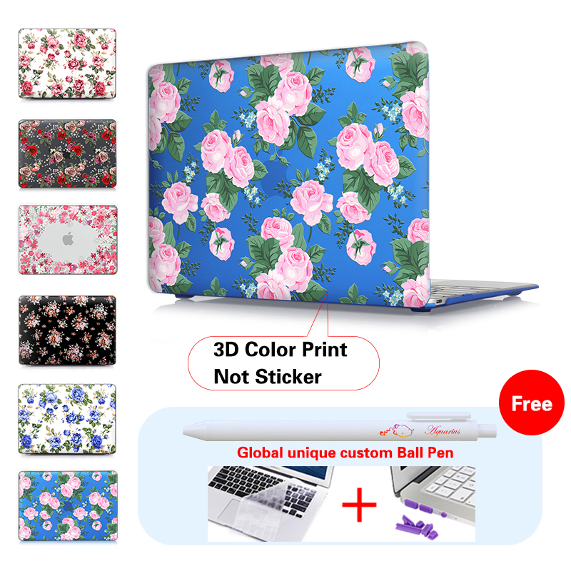 Red Rose Cover For Apple Macbook Air 11 12 13 Case Print Plastic Hard Pro 15 Retina Touch Bar ID A1707 In Laptop Bags Cases From