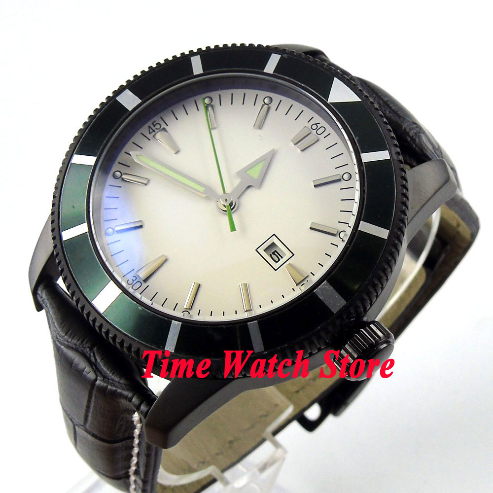 Bliger 46mm white sterial dial date green bezel luminous black PVD case deployant clasp Automatic men's watch 504 цена и фото