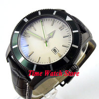Bliger 46mm white sterial dial date green bezel luminous black PVD case deployant clasp Automatic men's watch 504