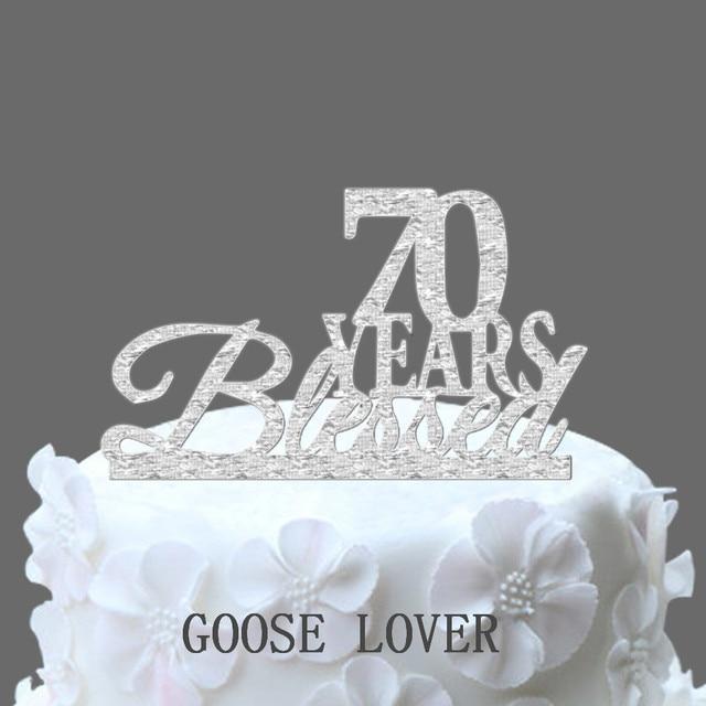 Twinkling 70 Birthday Anniversary Cake Topper Silver Metal Party Picks Decoration Monogram
