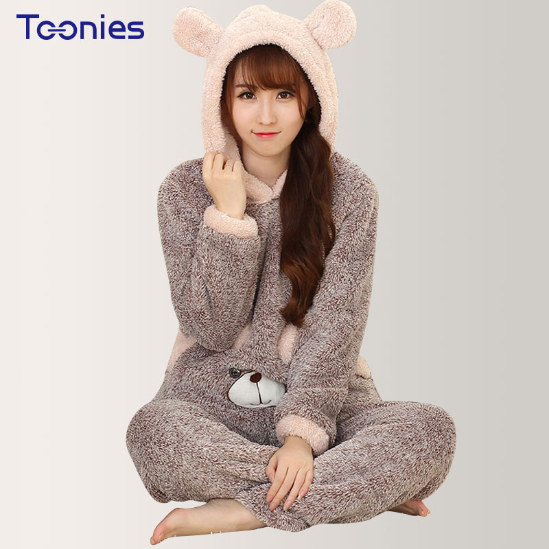 Cute Bear Women Sleepwear Pajamas Sets Animal Thicken Velvet Hooded Pajamas Home Wear Two Pcs Set Hooded Cashmere Pajama Sets
