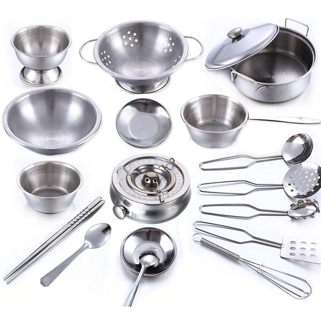 Kitchen Pots Skechers Shoes 18pcs Cookware Set Stainless Steel Cooking Utensils Pans Food Gift Miniature Cook Tools