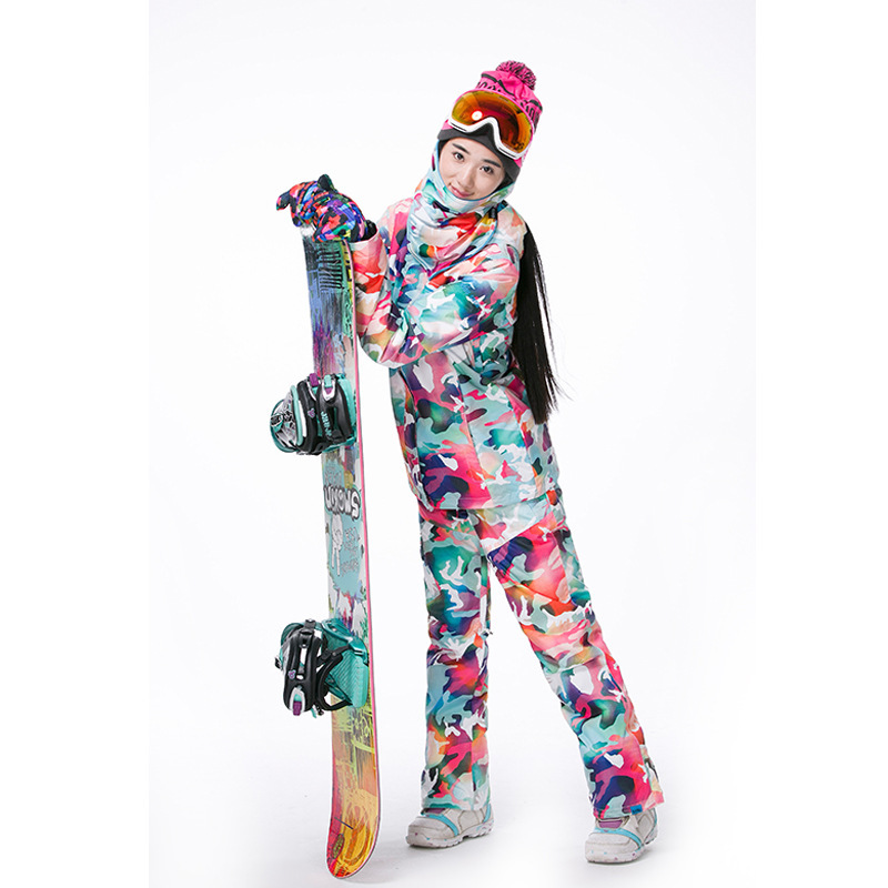 GSOU neige marque Camouflage hiver veste de Ski neige femme veste de Snowboard chaleur - 4