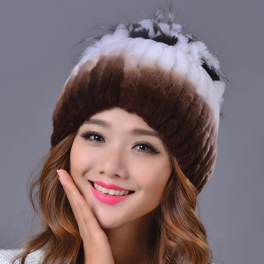 2016 Women Casual Rex Rabbit Fur Hat Fur Ball Real Winter Warm Fashion Hats Strips Colors Elastic Lady Beanies Cap