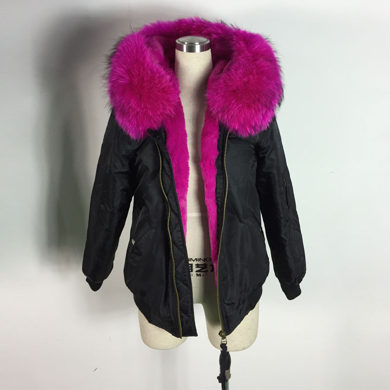Spring and Winter Hot Red Faux fur inside Bombers Black Bomber Jacket Short Style For Lady
