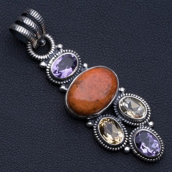 """Natural Sponge Coral,Citrine and Amethyst Punk Style 925 Sterling Silver Pendant 2"""" P0679"""