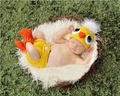 4pcs 1set Chicken yellow Plush Cosplay Handmade American Girls Photography Knitted Newborn Infant Clothes Baby Set